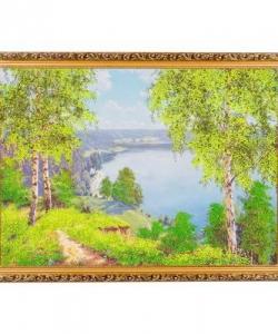 Картина  На берегу реки  багет №7 (50х70 см) ПИ4